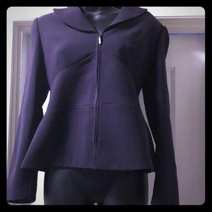Deep dark purple Tahari zip up jacket